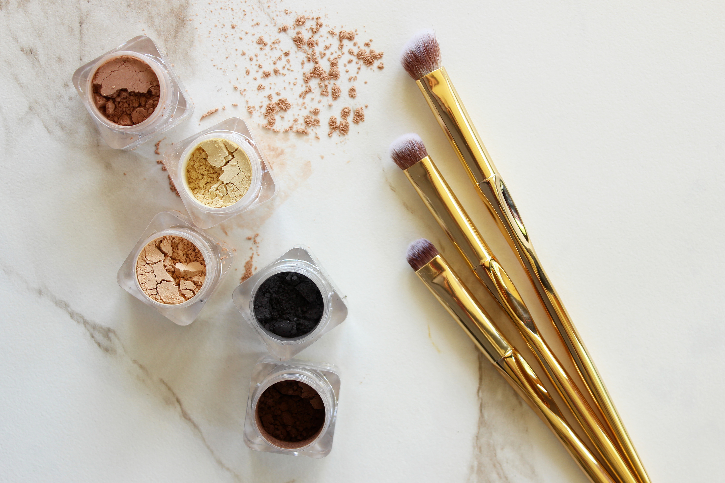 powder cosmetics and eye shadow brushes